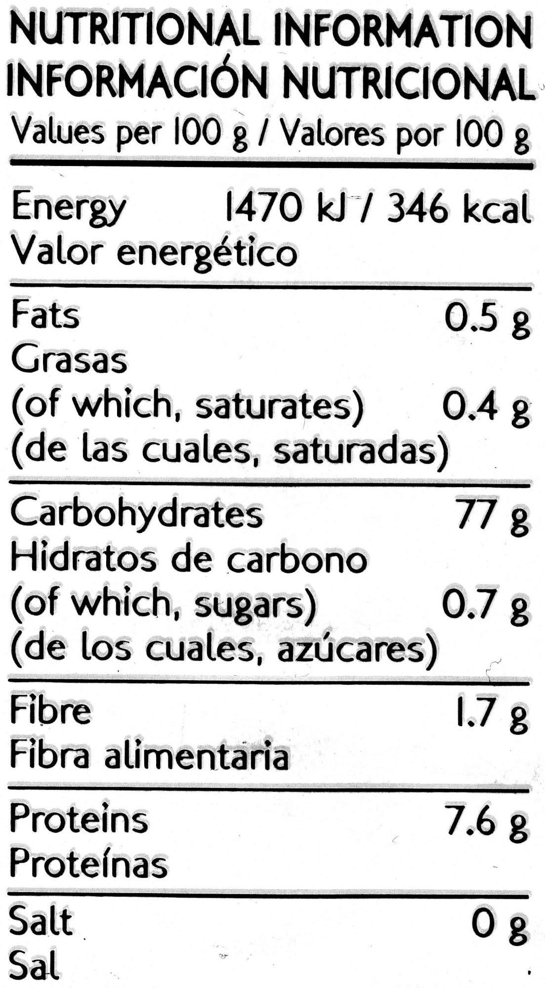 Thai jasmine rice - Información nutricional - es