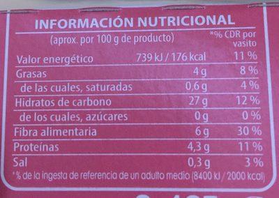 Arroz integral con quinoa, avena, trigo, centeno y cebada - Información nutricional