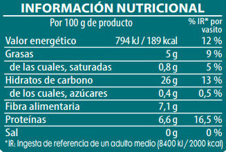 Brillante vasito de arroz integral con soja - Información nutricional - es