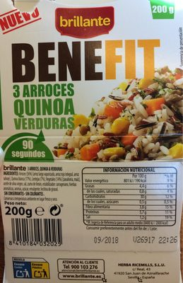 Benefit arroces quinoa y verdura - Produit