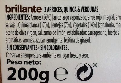 Benefit arroces quinoa y verdura - Ingrédients