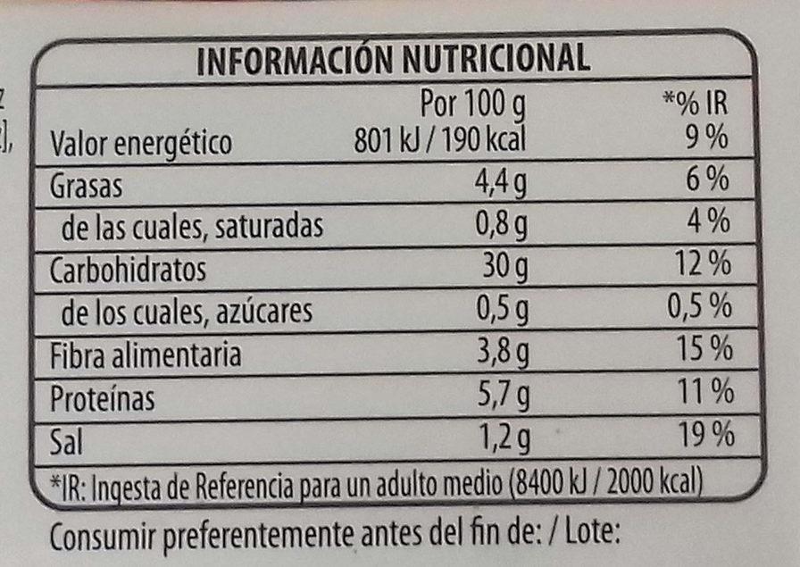 Benefit arroces quinoa y verdura - Informació nutricional