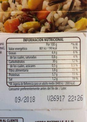 Benefit arroces quinoa y verdura - Informations nutritionnelles
