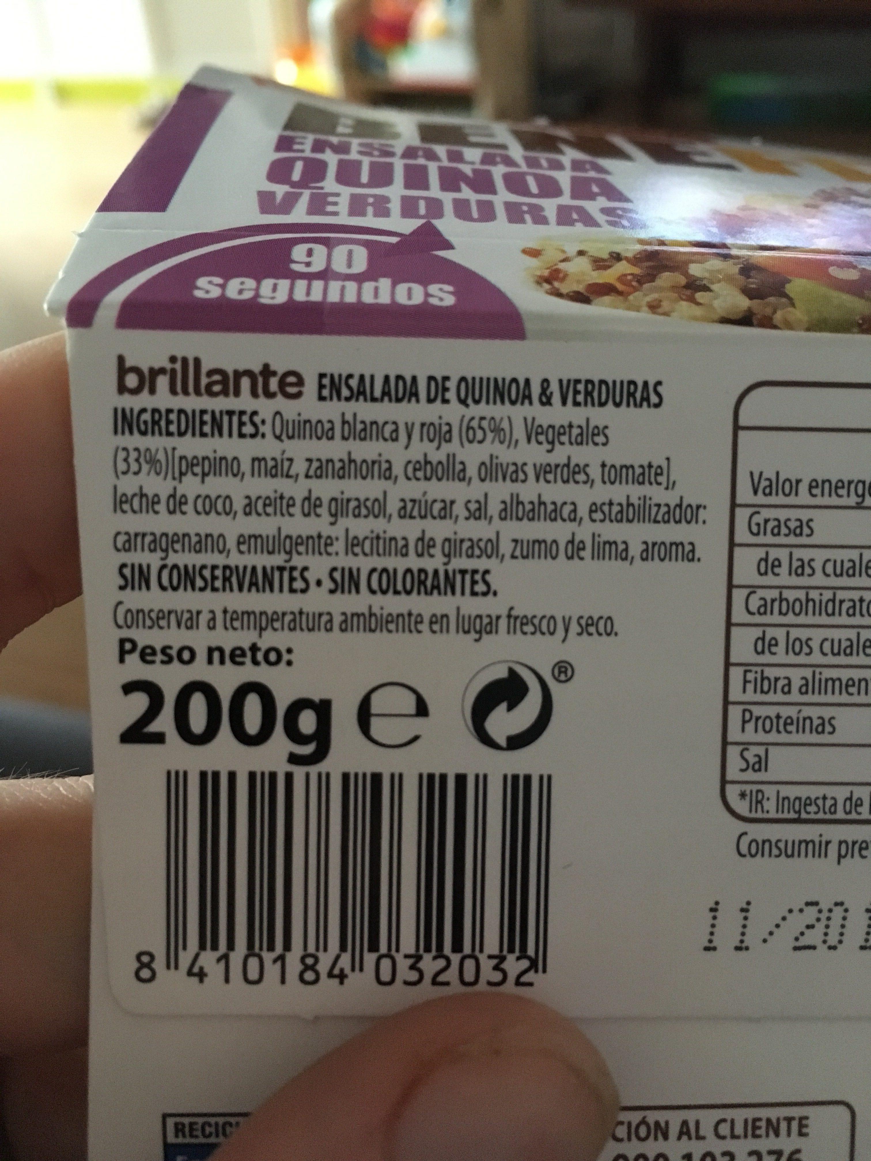Benefit ensalada quinoa y verduras - Ingrédients