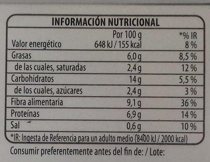Benefit ensalada quinoa y verduras - Informations nutritionnelles