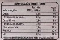Legumbres Quinoa Verduras - Información nutricional