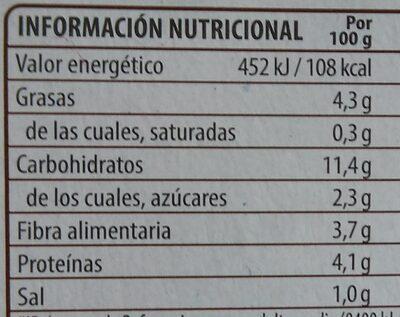 Benefit legumbres quinoa con verduras - Nutrition facts - es