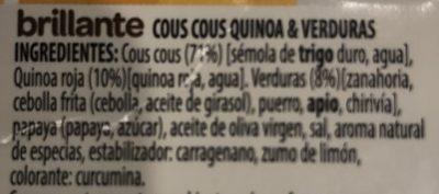 Benefit cous cous quinoa verduras - Ingredientes - es