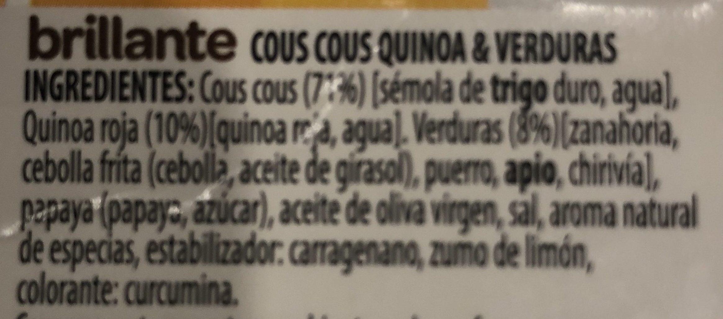 Benefit cous cous quinoa verduras - Ingredients - es