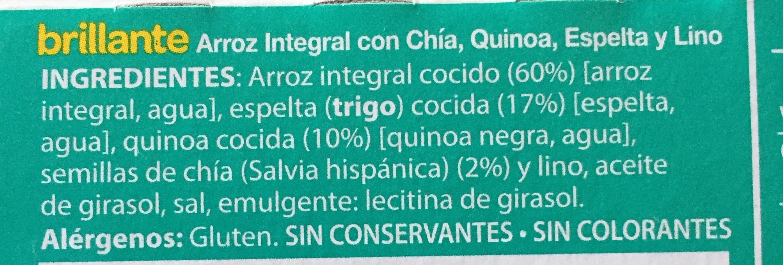 Vasito de arroz integral con chía, quinoa, espelta y lino - Ingrédients - fr