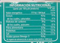 Arroz integral con chía, quinoa, espelta y lino - Informació nutricional