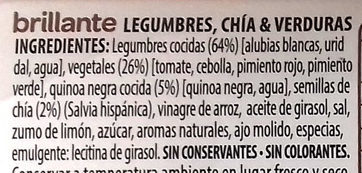 Legumbres Chía Verduras - Ingredientes