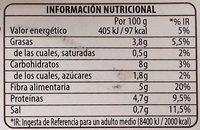 Legumbres Chía Verduras - Información nutricional