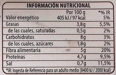 Benefit legumbres chía verduras - Nutrition facts - es
