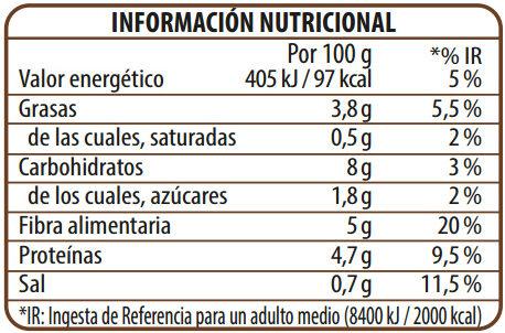 Benefit legumbres chía verduras - Informació nutricional - es