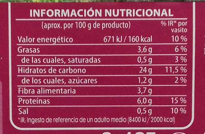 Quinoa blanca y roja ecológica pack 2 envase 125 g - Informations nutritionnelles