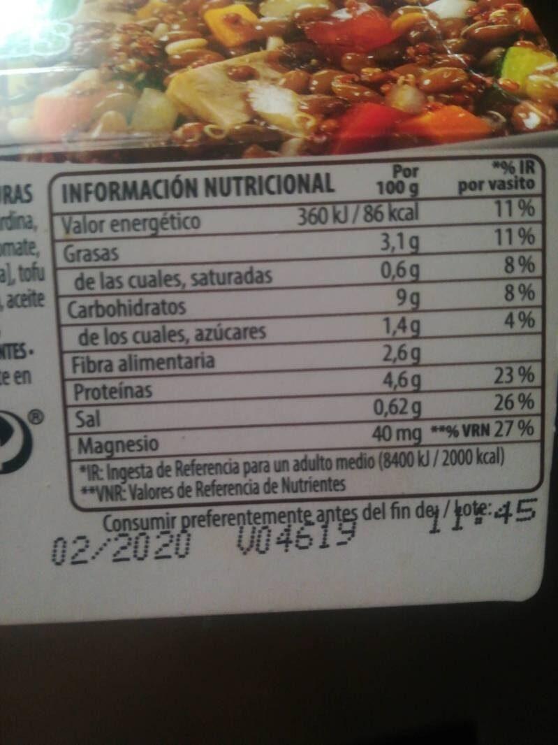 Benefit legumbres tofu verduras - Información nutricional - es
