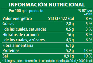 Brillante vasito de guisantes con Bulgur, Quinoa y Zanahorias - Información nutricional - es