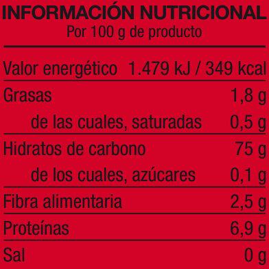 Brillante Arroz Calidad Oro - Información nutricional - es