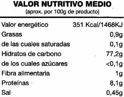 Arroz basmati 5 bolsitas caja 500 g - Información nutricional