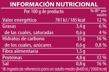 Brillante vasito de arroz tres delicias - Informació nutricional - es
