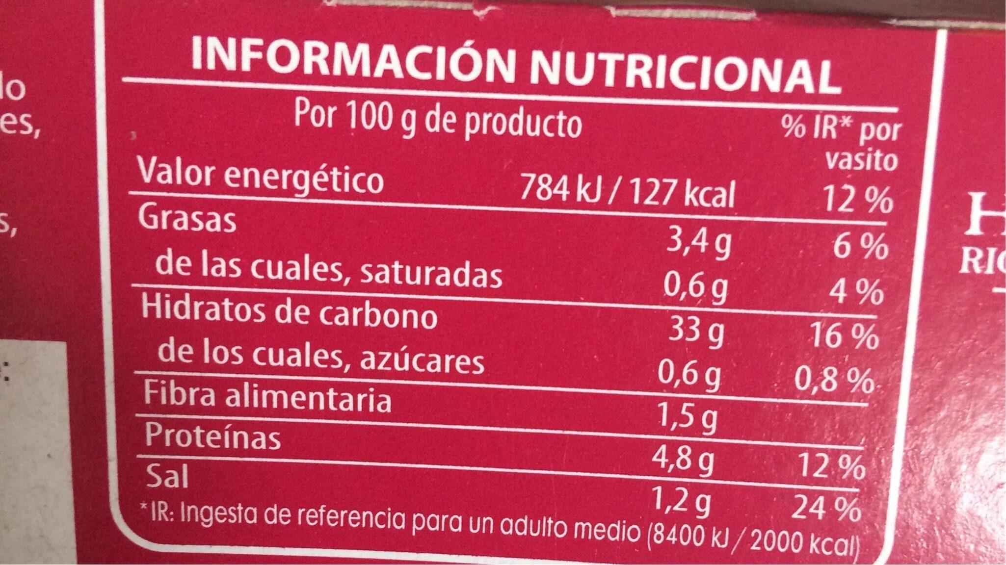 Arroz cantonés cocido tres delicias para guarnición pack 2 envases 250 g - Información nutricional - es