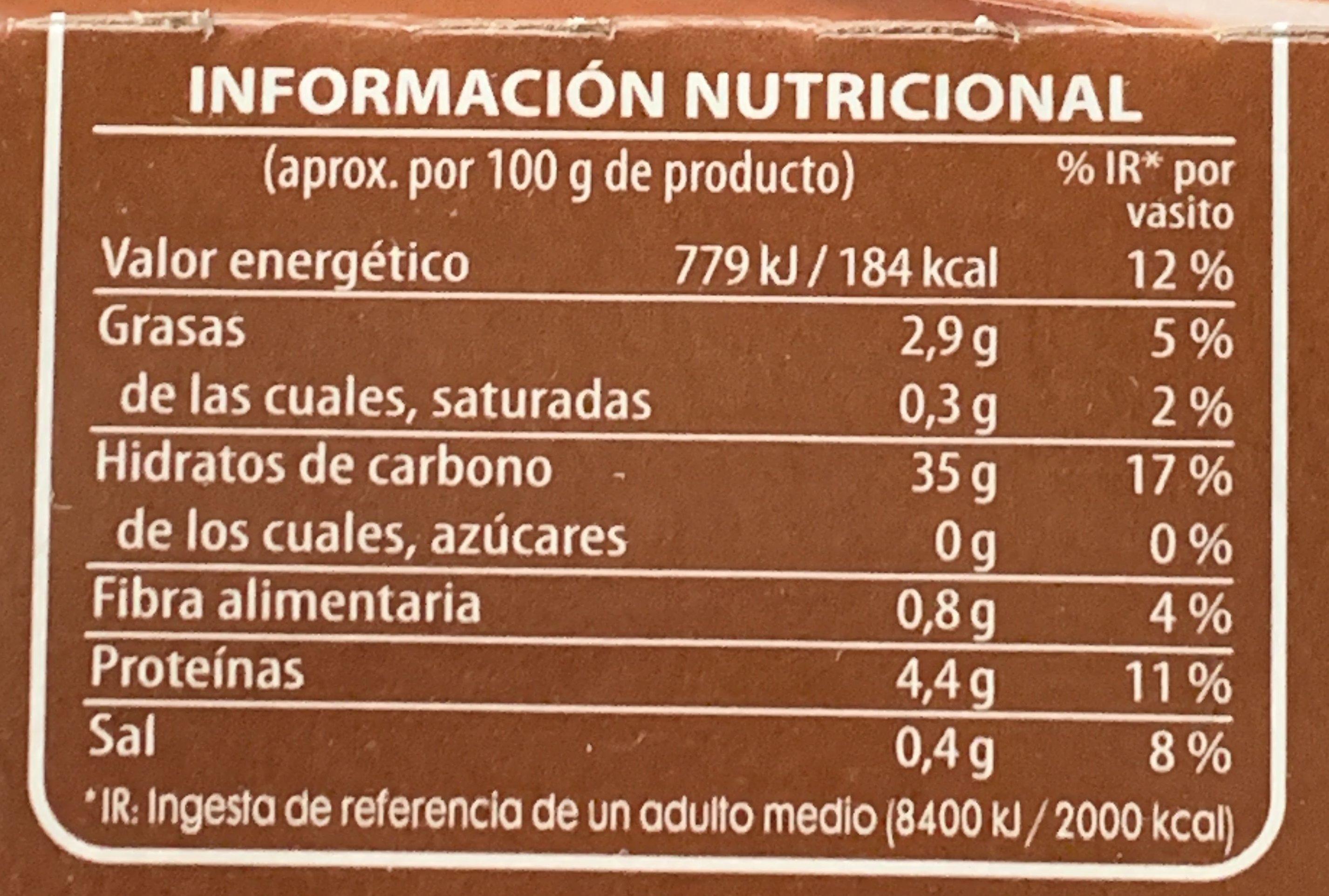 Arroz basmati salvaje cocido para guarnición pack 2 envases 125 g - Información nutricional