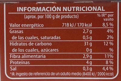 Brillante vasito de Arroz integral - Información nutricional - es