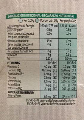 Corn Flakes Kellogg's - Información nutricional