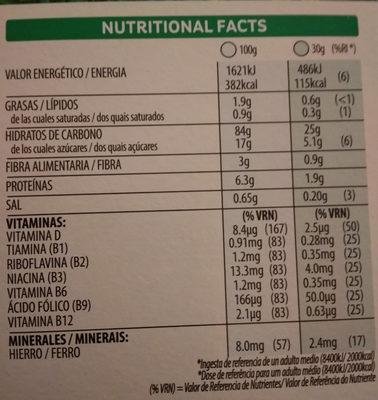 choco krispies - Información nutricional