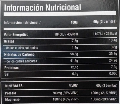 energy bars pack - Informations nutritionnelles - es