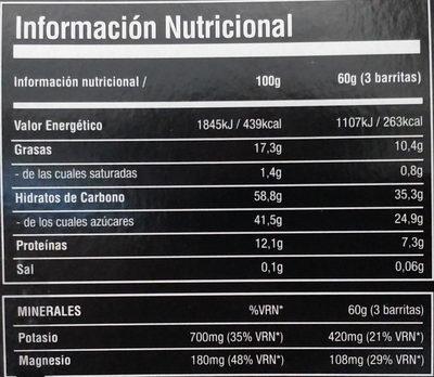 energy bars pack - Información nutricional - es