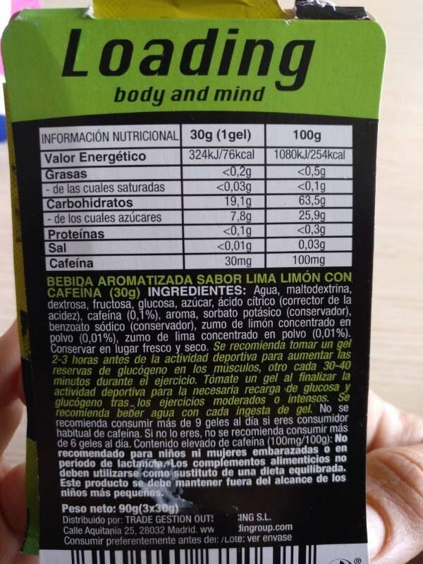 Energía Gel - Lima Limón - Informations nutritionnelles