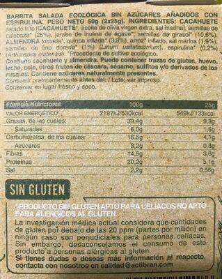 Barrita ecológica salada con espirulina - Información nutricional - es