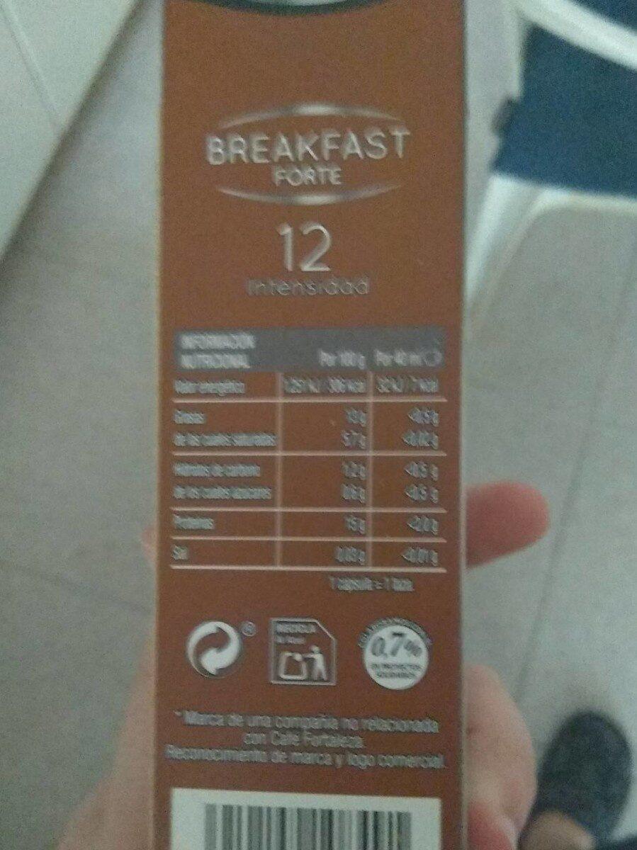 Cafe - Voedingswaarden - es