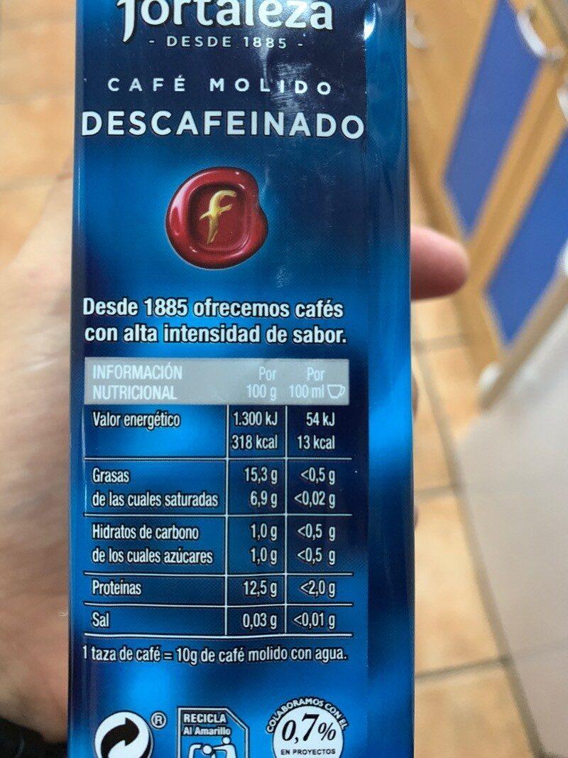 Cafe descafeinado - Voedigswaarden