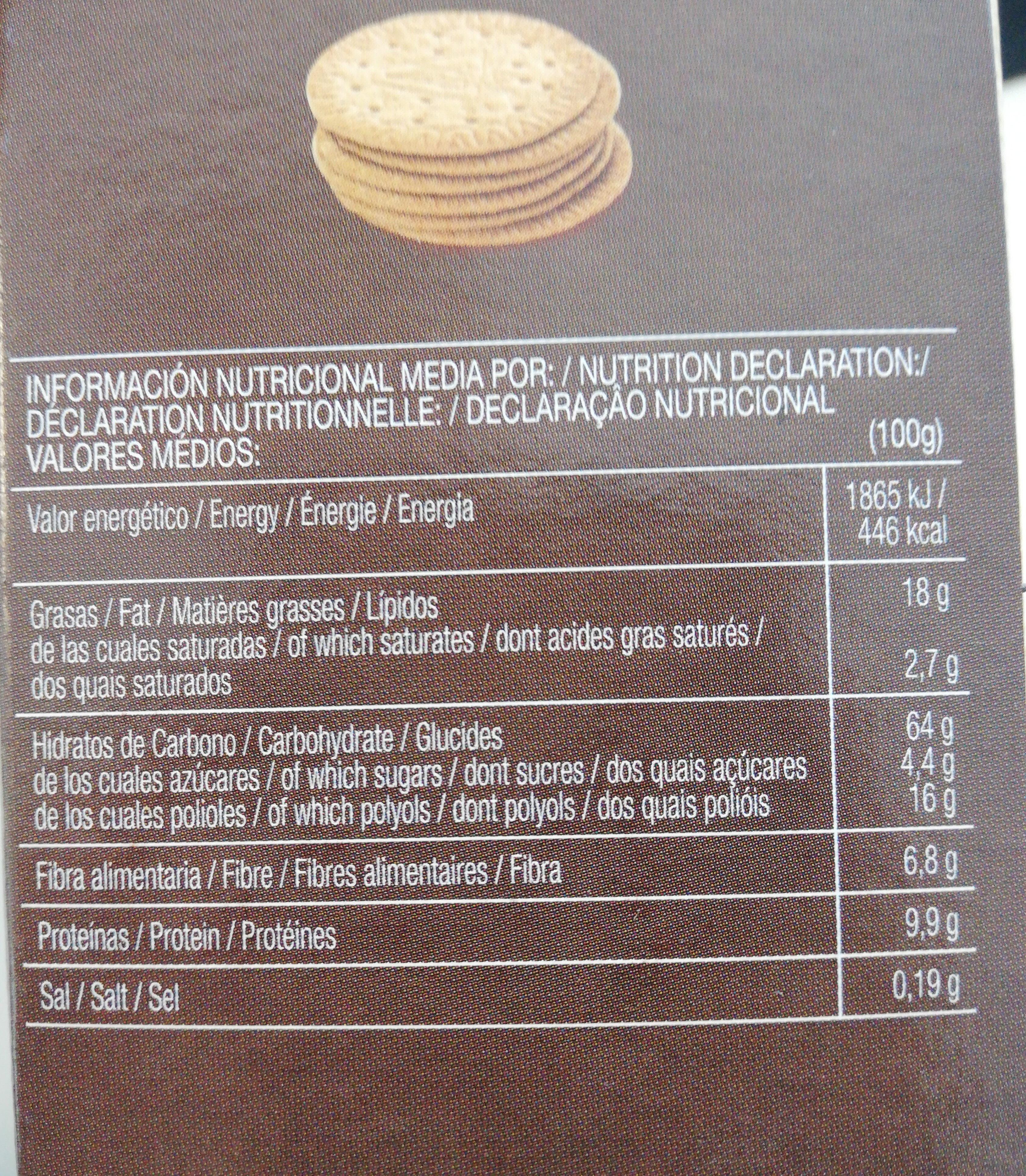 B-san galletas integrales finas de espelta bajas - Nutrition facts - es