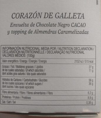 Premium galleta de cacao con almendra caramelizada - Informació nutricional - fr