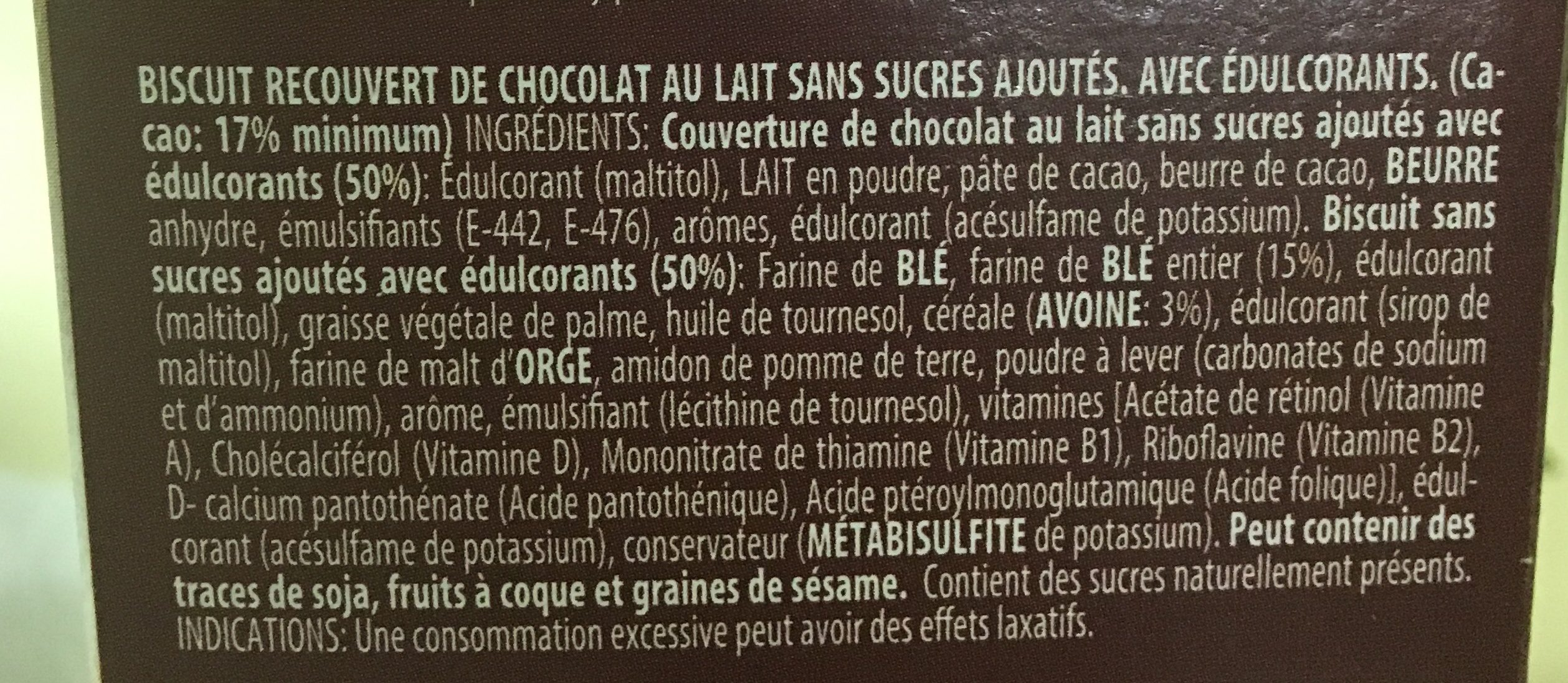 Galletas Virginia B ~ San Chocolate S / Azucar 120G - Ingrediënten