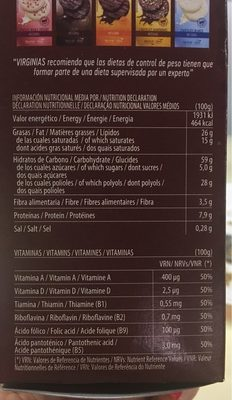Galletas Virginia B ~ San Chocolate S / Azucar 120G - Voedingswaarden