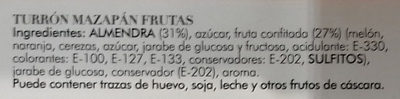 Turrón mazapán frutas - Ingredients