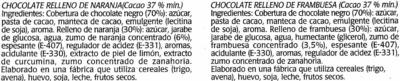Mini tabletas de chocolate negro rellenas con naranja y frambuesa - Ingredientes
