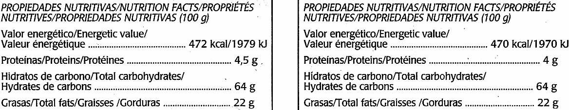 Mini tabletas de chocolate negro rellenas con naranja y frambuesa - Información nutricional