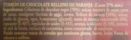 Turrón de chocolate con naranja - Ingredientes - es