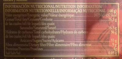 Turrón de chocolate con naranja - Información nutricional - es