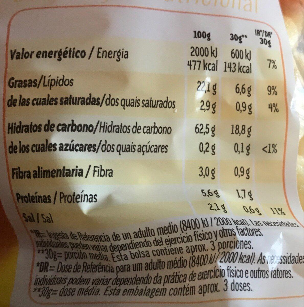 Gustosines snack bolsa 80 g - Información nutricional