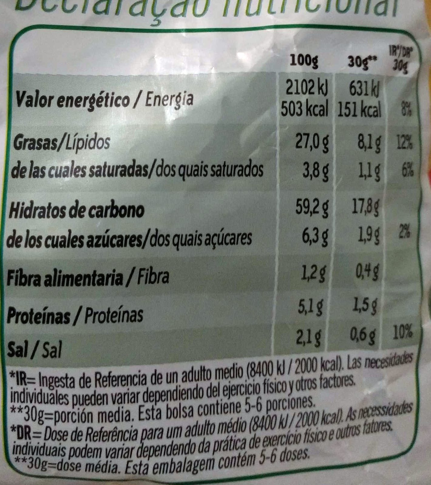 Pelotazos - Información nutricional