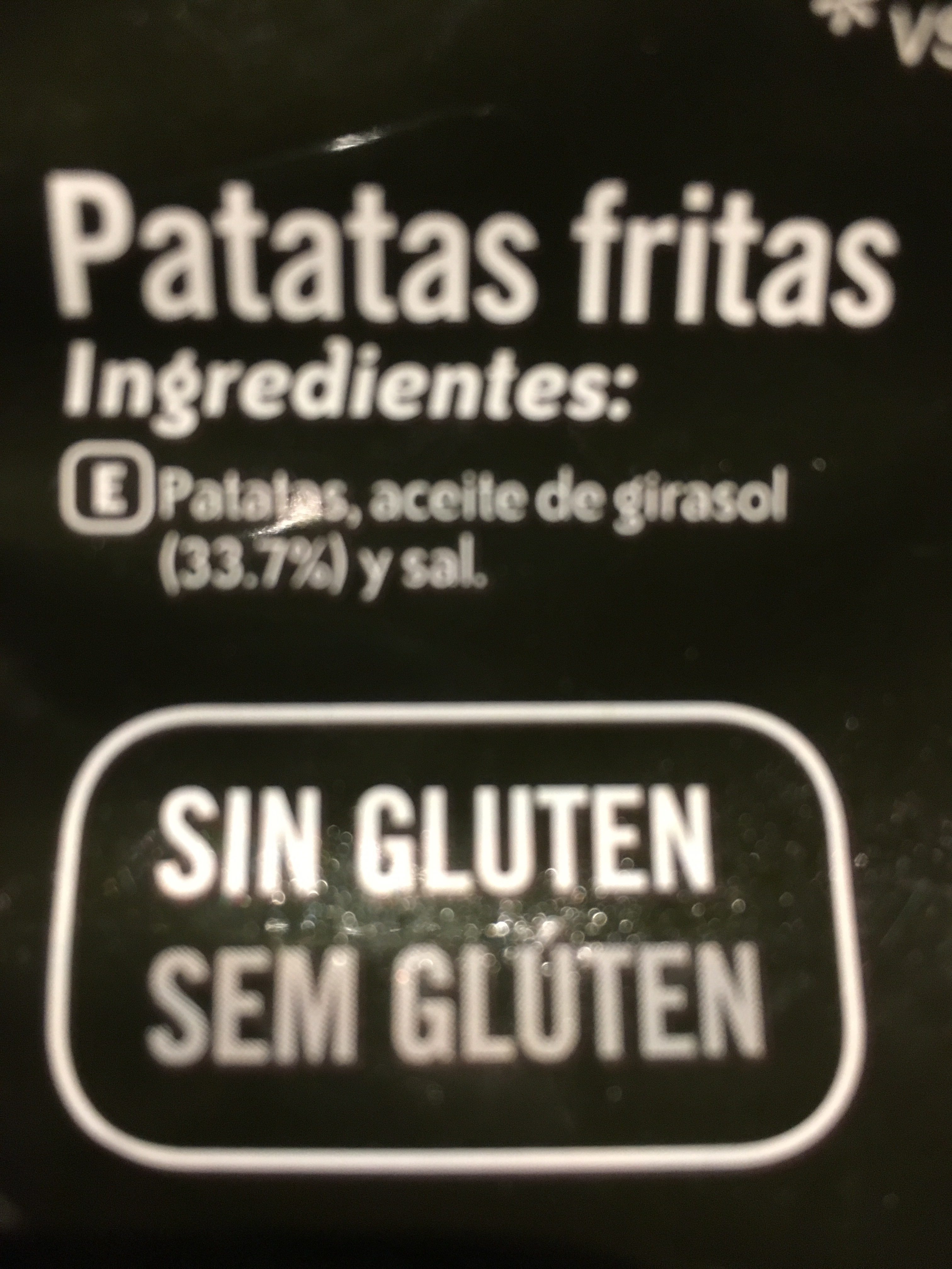 Finísimas patatas fritas corte fino sin gluten - Ingredientes