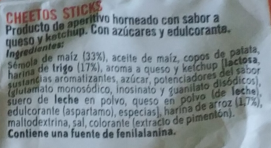 Sticks - Ingredientes