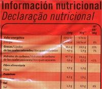 Xtra onduladas al punto de sal sin gluten - Informació nutricional